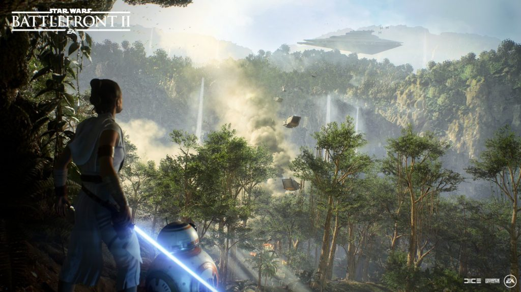 Rey over looking a forested planet. Marketing image from DICE/EA